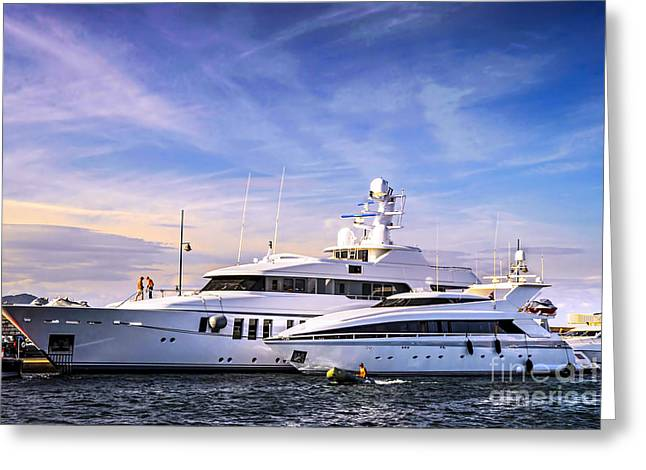 Riviera Greeting Cards - Luxury yachts Greeting Card by Elena Elisseeva