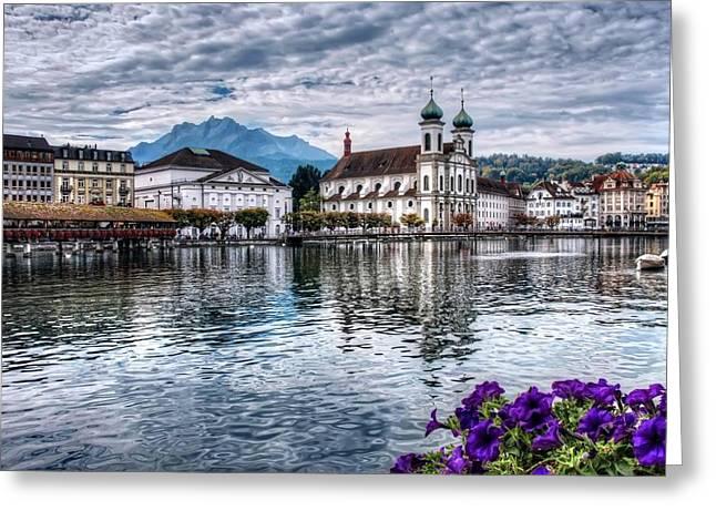 Swiss Photographs Greeting Cards - Lucerne  Greeting Card by Carol Japp