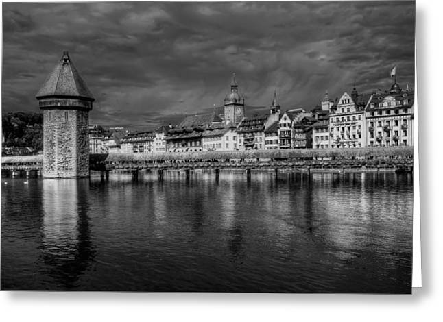 Swiss Photographs Greeting Cards - Lucerne Reflected Greeting Card by Carol Japp