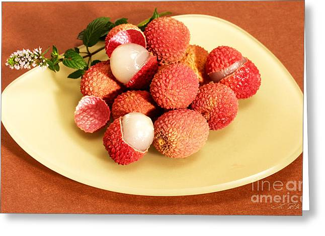 Lychee Greeting Cards - lychee Litchi chinensis Greeting Card by Iris Richardson