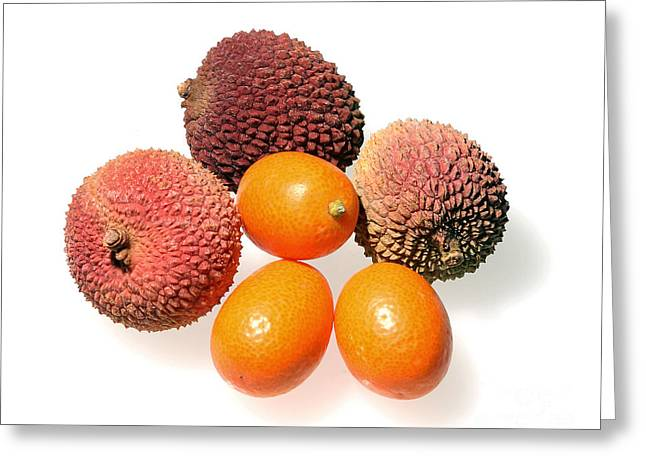 Lychee Greeting Cards - Lychees and Kumquats  Greeting Card by Nicholas Burningham
