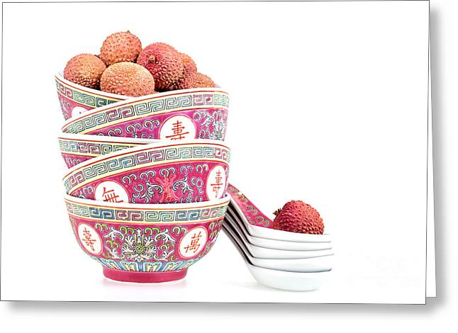 Exotic Fruit Greeting Cards - Lychees in bowls with spoons Greeting Card by Jane Rix