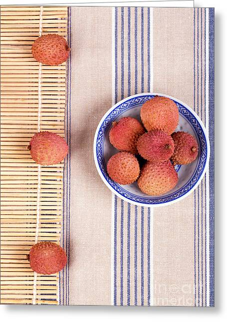 Exotic Fruit Greeting Cards - Lychess with bamboo mat Greeting Card by Jane Rix