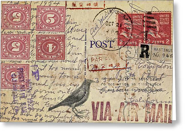 Crow Cards Greeting Cards - Lyda Compton Postcard Greeting Card by Carol Leigh