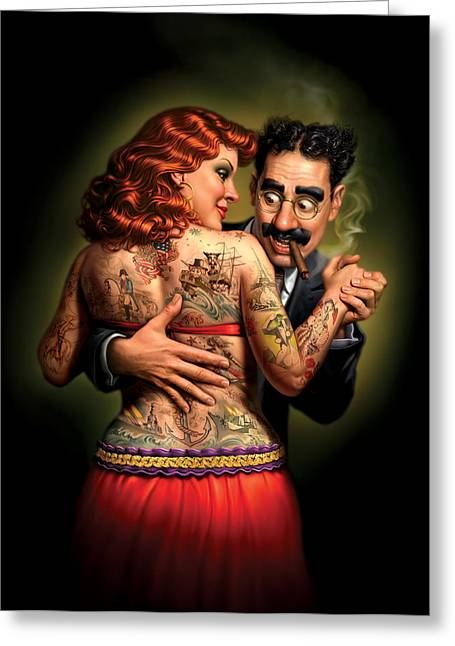 Red Dress Greeting Cards - Lydia the Tattooed Lady Greeting Card by Mark Fredrickson