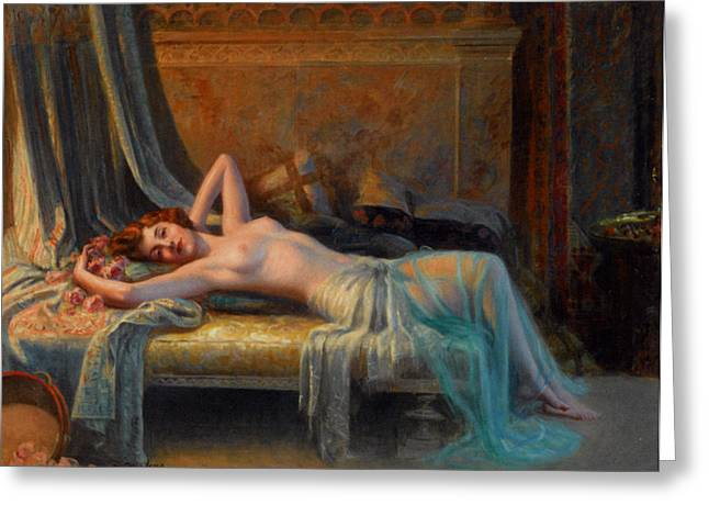 Lying Nude In A Bed Of Roses Greeting Card by Delphin Enjolras