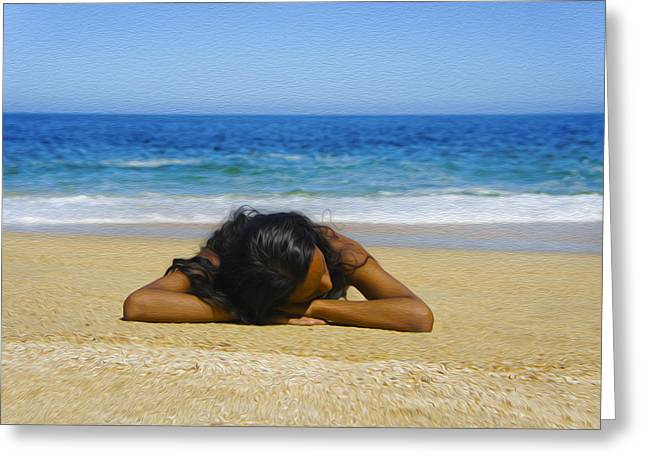 People Digital Art Greeting Cards - Lying on the beach Greeting Card by Aged Pixel