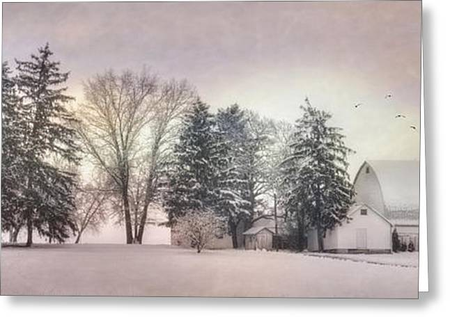 Wintery Barn Greeting Cards - Lykens Valley Farm Greeting Card by Lori Deiter
