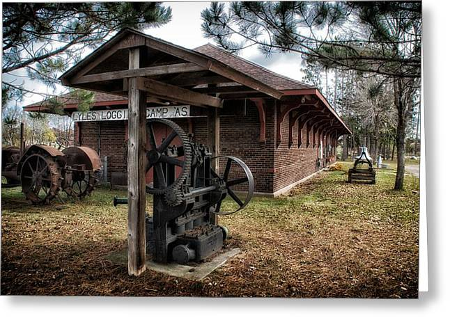 Logging Tractor Greeting Cards - Lyles Logging Camp Greeting Card by Todd and candice Dailey