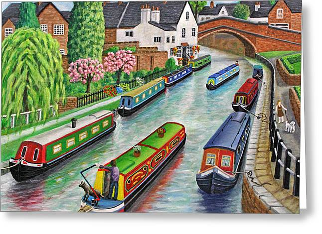 Dog Walker Greeting Cards - Lymm Village Greeting Card by Ronald Haber