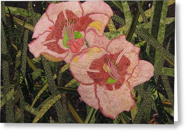 Wall Hanging Quilt Tapestries - Textiles Greeting Cards - Lyndas Daylilies Greeting Card by Lynda K Boardman