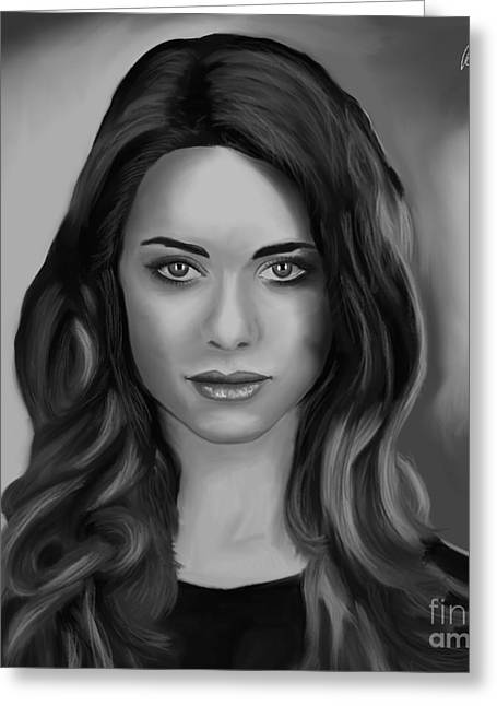 Desperate Housewives Greeting Cards - Lyndsy Fonseca - Nikita in BW crop Greeting Card by Richard Eijkenbroek