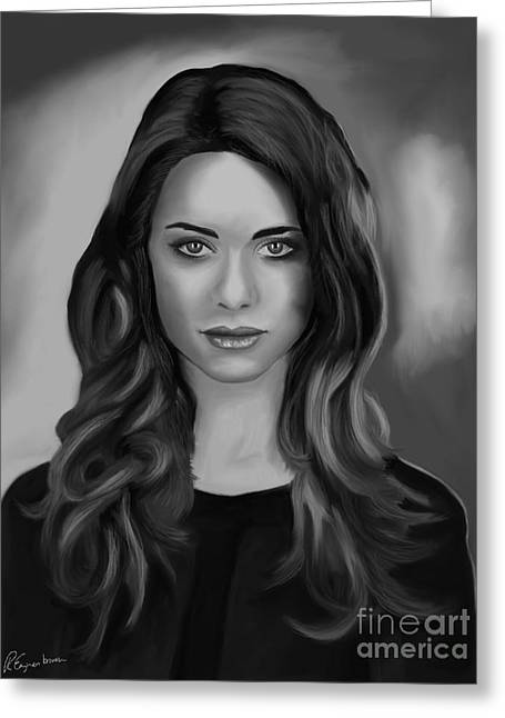 Desperate Housewives Greeting Cards - Lyndsy Fonseca portrait - Nikita portrait BW Greeting Card by Richard Eijkenbroek