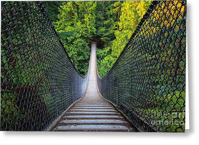Vancouver Greeting Cards - Lynn Canyon Suspension Bridge Greeting Card by Charline Xia
