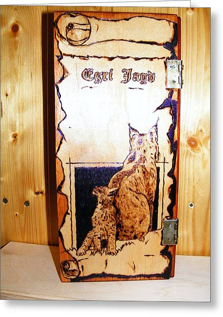 Log Pyrography Greeting Cards - Lynx and cubs Greeting Card by Egri George-Christian