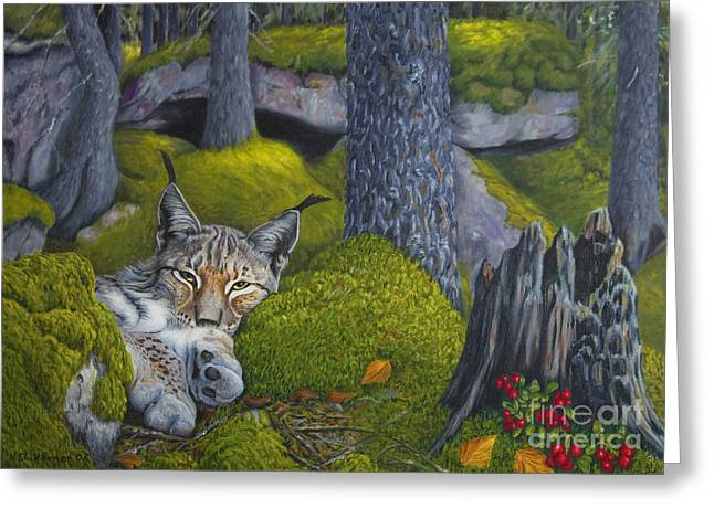Harmonious Paintings Greeting Cards - Lynx in the sun Greeting Card by Veikko Suikkanen