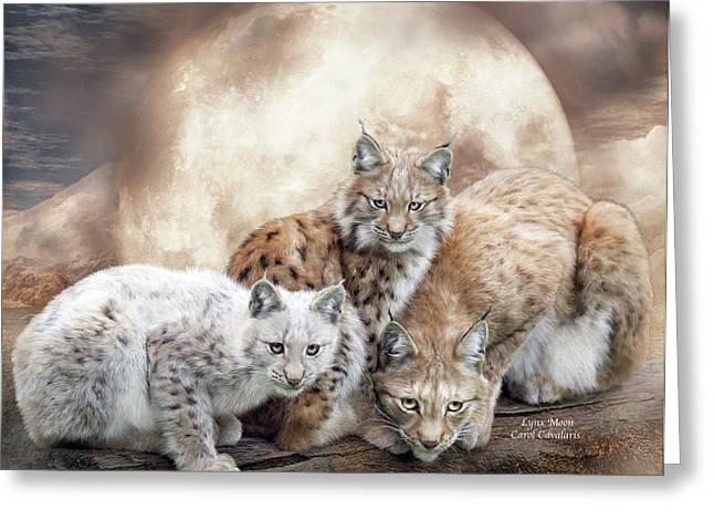 Wildcats Mixed Media Greeting Cards - Lynx Moon Greeting Card by Carol Cavalaris