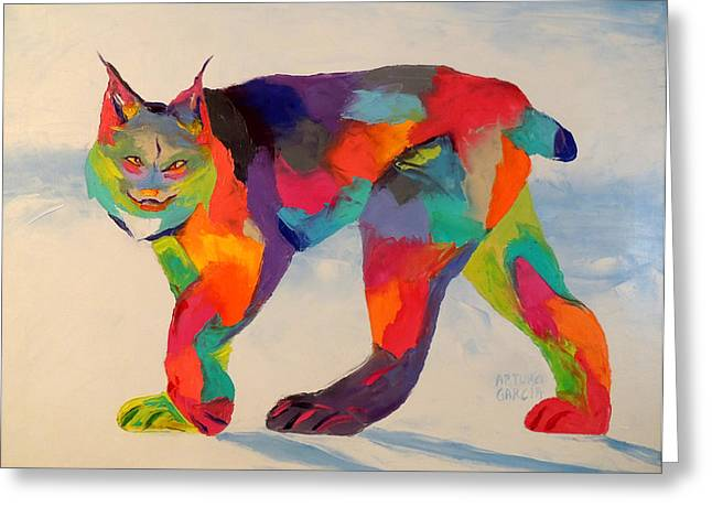 Denver Artist Greeting Cards - Lynx on a morning walk Greeting Card by Arturo Garcia