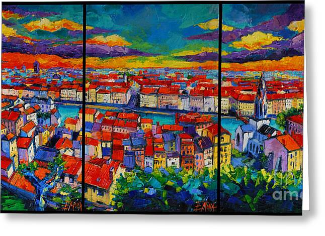 Aerial View Greeting Cards - Lyon Panorama Triptych Greeting Card by Mona Edulesco