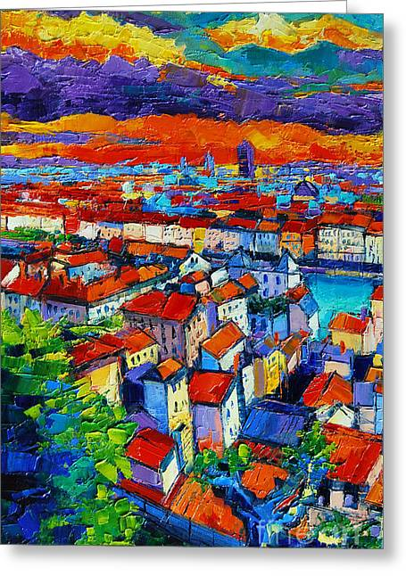 Aerial View Greeting Cards - Lyon View 1 Greeting Card by Mona Edulesco