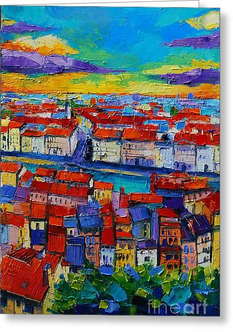 Spring Street Greeting Cards - Lyon View 2 Greeting Card by Mona Edulesco