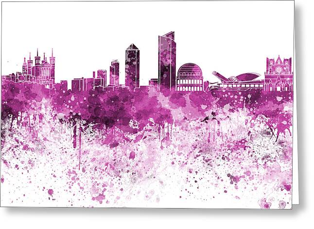 Lyon Greeting Cards - Lyon skyline in pink watercolor on white background Greeting Card by Pablo Romero