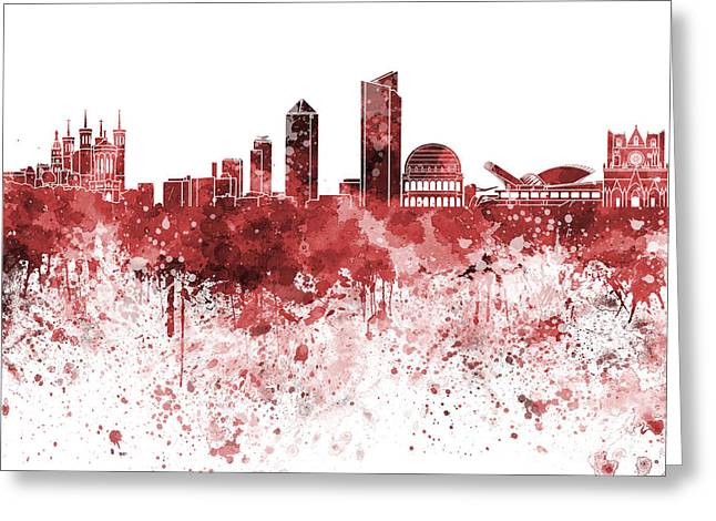 Lyon Greeting Cards - Lyon skyline in red watercolor on white background Greeting Card by Pablo Romero