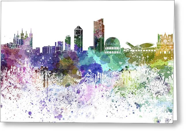 Lyon Greeting Cards - Lyon skyline in watercolor on white background Greeting Card by Pablo Romero