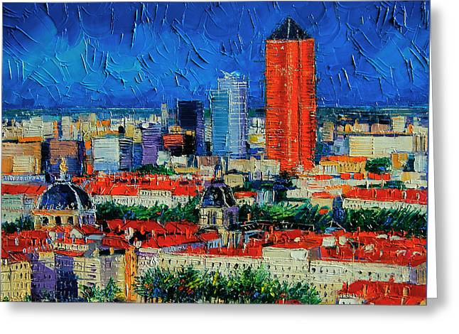 Urban Garden Greeting Cards - Lyon View From Jardins Des Curiosites  Greeting Card by Mona Edulesco