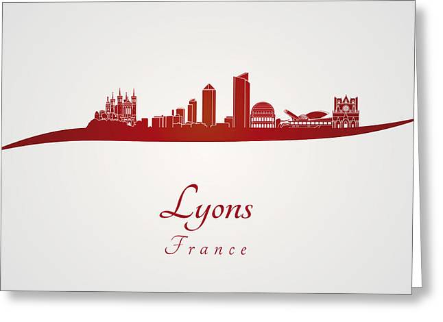 Europe Greeting Cards - Lyons skyline in red Greeting Card by Pablo Romero
