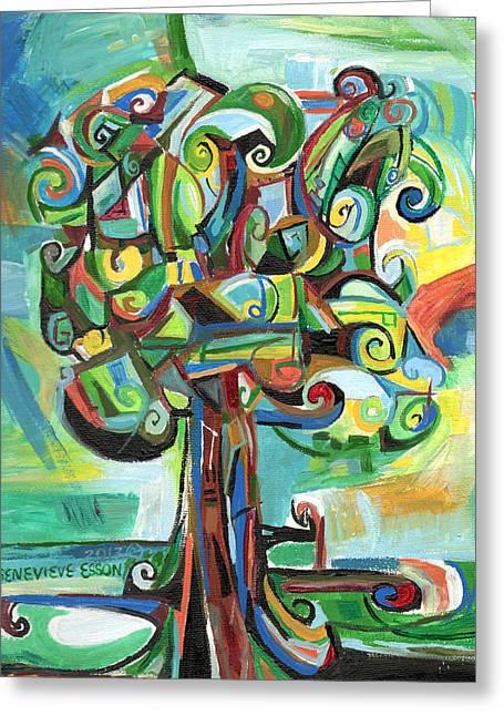 Acrylic Art Greeting Cards - Lyrical Tree Greeting Card by Genevieve Esson
