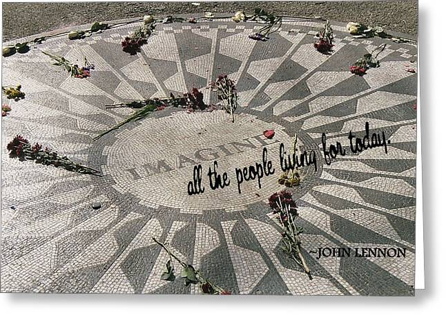 John Lennon Quote Greeting Cards - LYRICS quote Greeting Card by JAMART Photography