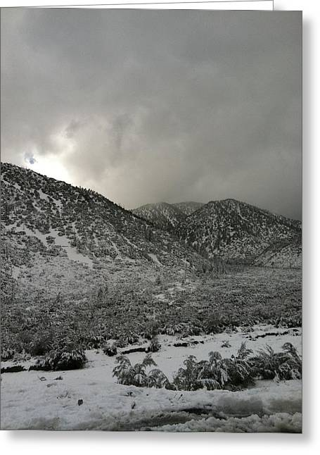 Snowie Greeting Cards - lytle Creek Mountains Greeting Card by Ishmael Torres