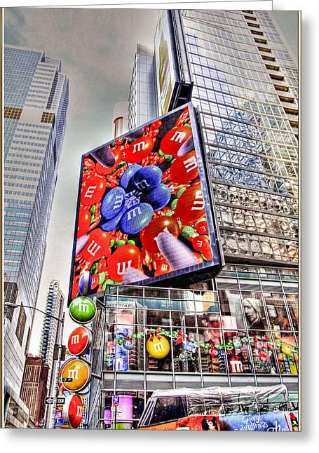 Tron Greeting Cards - M and M sign in New York CItry Greeting Card by Geraldine Scull
