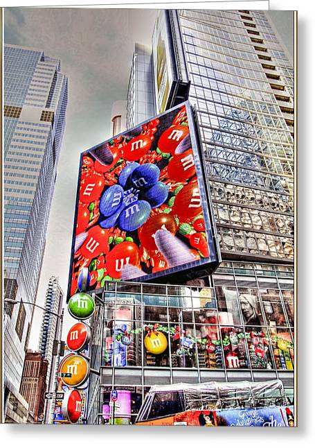 Tron Digital Greeting Cards - M and M sign in New York CItry Greeting Card by Geraldine Scull