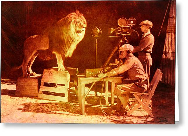 Historical Pictures Greeting Cards - M G M Filming of Leo the Lion Production Logo 1917 to 1928 Greeting Card by Douglas MooreZart