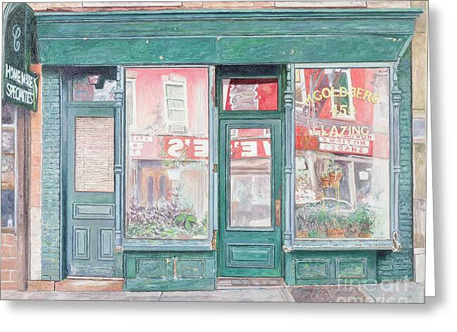Neighborhoods Greeting Cards - M Goldberg Glazing Court St Brooklyn New York Greeting Card by Anthony Butera