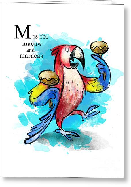 Animal Alphabet Greeting Cards - M is for Macaw Greeting Card by Sean Hagan