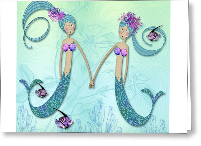 Illustrated Letter Greeting Cards - M is for Marvelous Mermaids Greeting Card by Valerie   Drake Lesiak