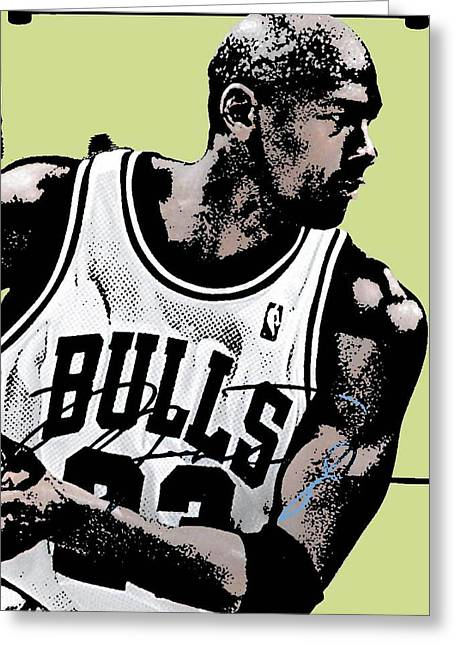 Nba Draft Greeting Cards - M J Greeting Card by Tanysha Bennett-Wilson