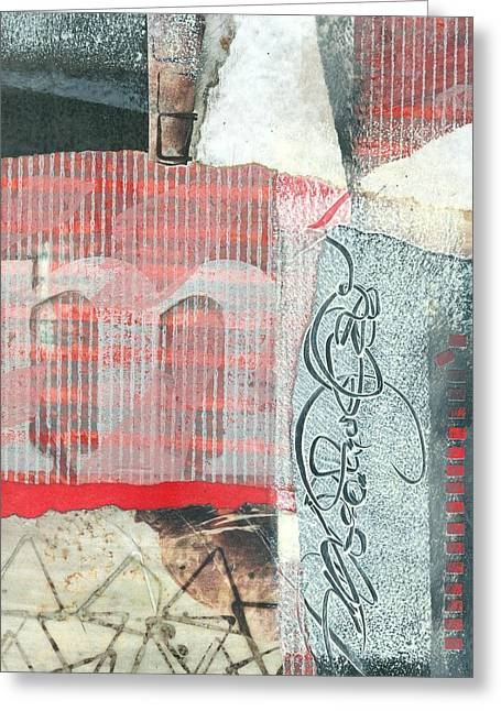 Rectangles Mixed Media Greeting Cards - M Greeting Card by Laura  Lein-Svencner