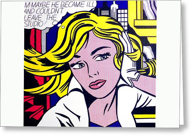Roy Greeting Cards - M-Maybe Greeting Card by Roy Lichtenstein