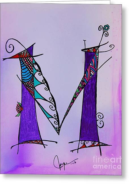 'm' Monogram Greeting Card by Joyce Auteri