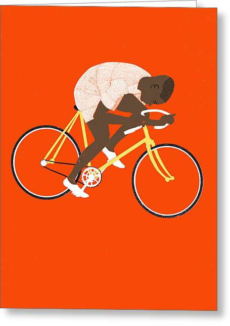 Bike Race Greeting Cards - M Tred Greeting Card by Eliza Southwood
