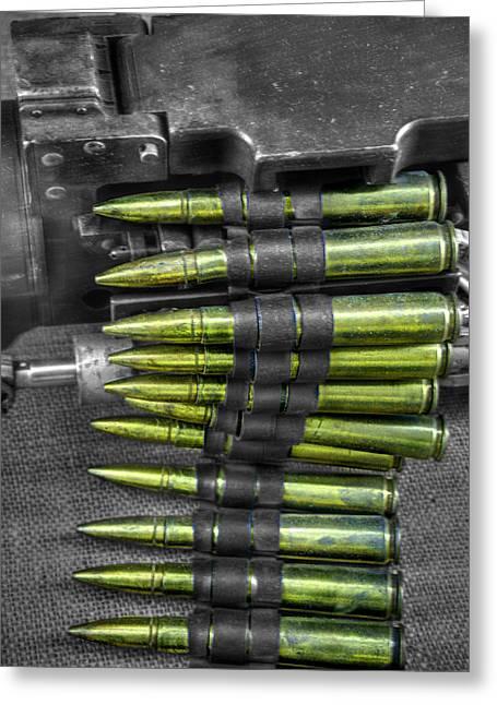 Sub Machine Gun Greeting Cards - M1919 Browning machine gun v1 Greeting Card by John Straton