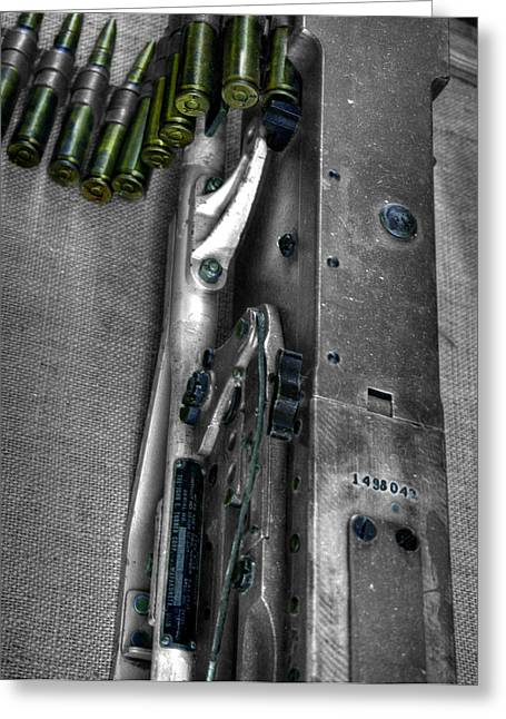 Sub Machine Gun Greeting Cards - M1919 Browning machine gun v2 Greeting Card by John Straton