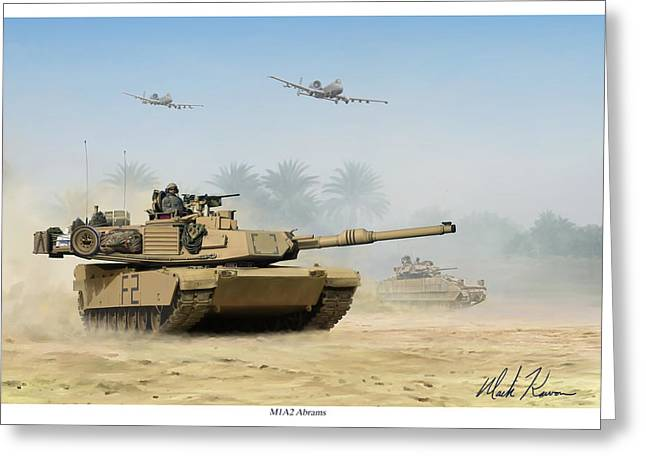 Iraq Prints Greeting Cards - M1A2 Abrams Greeting Card by Mark Karvon