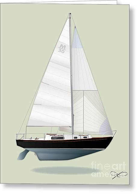 Blue Sailboats Drawings Greeting Cards - M30 Greeting Card by Regina Marie Gallant