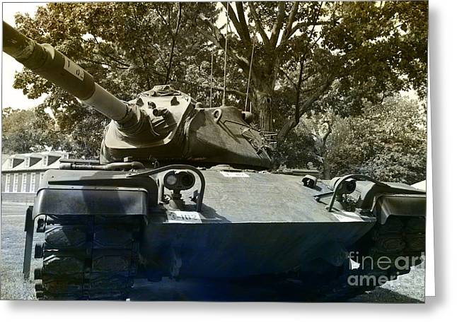 Tank Battalions Greeting Cards - M60 Patton Artillery Tank Greeting Card by Luther   Fine Art
