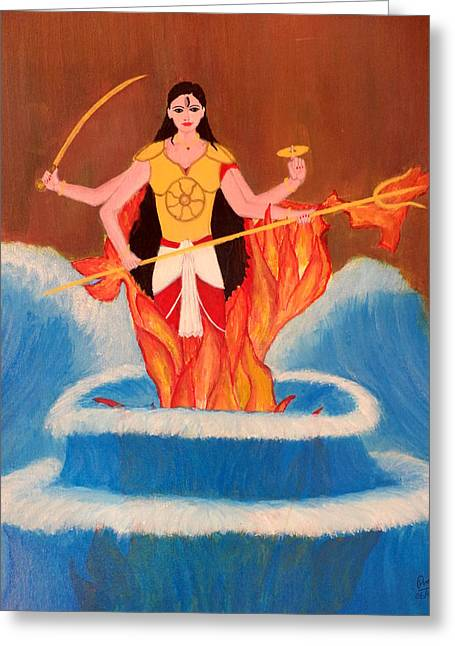 Warrior Goddess Greeting Cards - Ma Bharati Greeting Card by Pratyasha Nithin